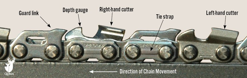 Direction of Chain on Chainsaw