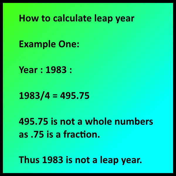 How to calculate leap year - Example One