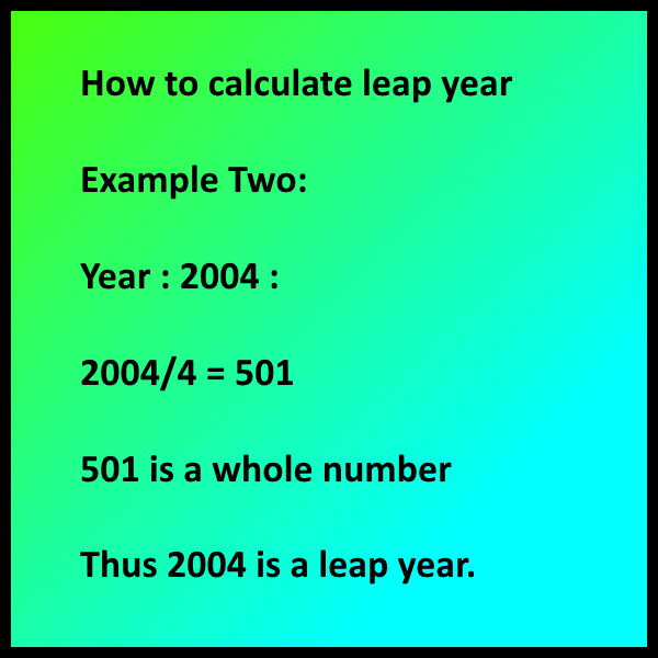 How to calculate leap year - Example Two