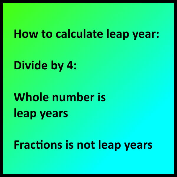 How to calculate leap year Formula