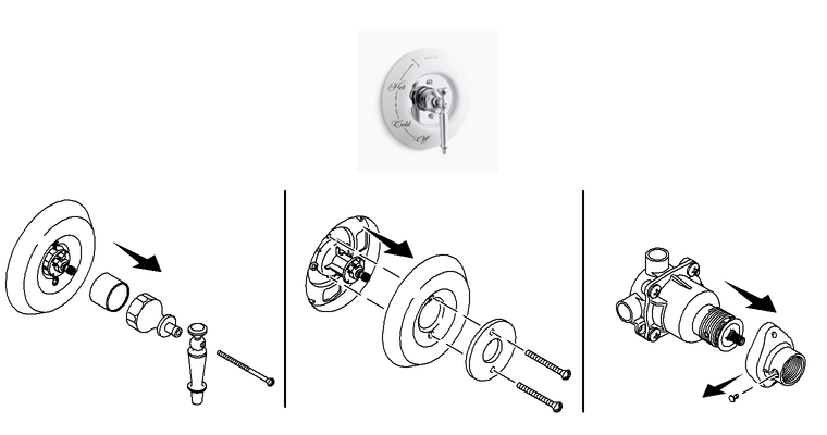 How to remove Kohler shower handle - with Exposed Screws