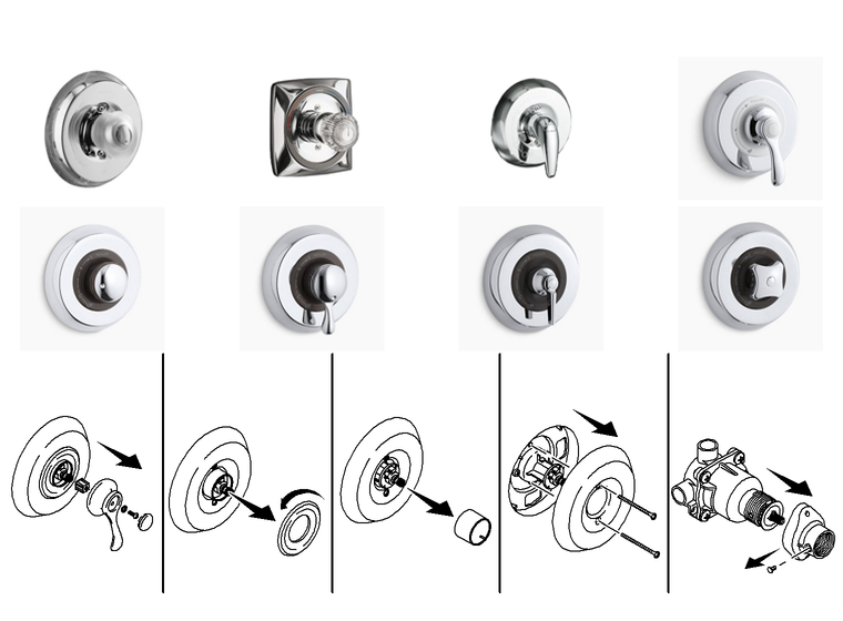 Kohler shower handle - with Plug Buttons